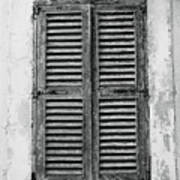 Peeling Shutters Black And White Poster