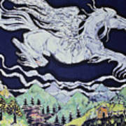 Pegasus Flying Over Stream Poster by Carol  Law Conklin