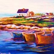 Peggys Cove  Four  Row Boats Poster