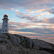 Peggys Cove Lighthouse At Dusk Poster