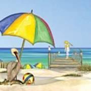 Pelican Under Umbrella Poster