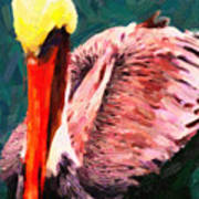 Pelican Wading In Water Poster by Wingsdomain Art and Photography