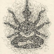 Pen And Ink Drawing Buddha  Poster