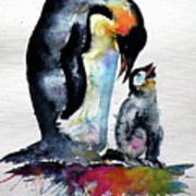 Penguin With Baby Poster