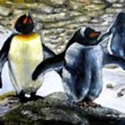 Penguines Original Oil Painting Poster