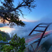 Pennybacker Bridge In Morning Fog Poster