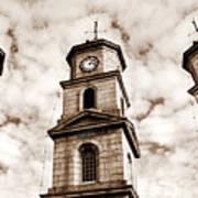 Penryn Clock Tower In Sepia Poster