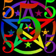 Penta Pentacle In Black Poster