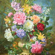 Peonies And Mixed Flowers Poster
