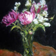 Peonies In A Glass Vase Poster