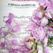 Peonies On Music Sheet - Pink Peonies Shabby Chic Inspirational Print - Peony Home Decor Poster