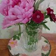 Peonies With Sweet Williams Poster