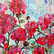 Peony Art Mixed Media Collage Art Floral Print Fine Art Print Peony Polka Poster