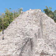 People Climbing Nohoch Mul At The Coba Ruins Poster