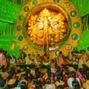 People Enjoying Inside Durga Puja Pandal Durga Puja Festival Poster
