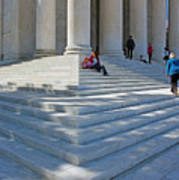 People On Steps With Columns Poster