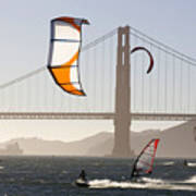 People Wind Surfing And Kitebording Poster