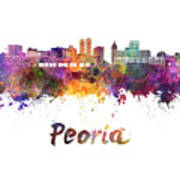 Peoria Skyline In Watercolor Poster