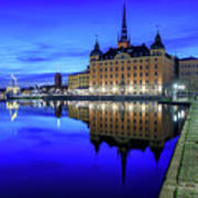 Perfect Riddarholmen Blue Hour Reflection Poster