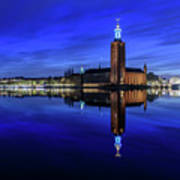 Perfect Stockholm City Hall Blue Hour Reflection Poster