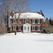 Period Vintage New England Brick House In Winter Poster