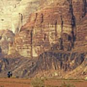 Person Riding A Motorbike Through The Wadi Rum Desert In Jordan Poster by Sami Sarkis