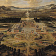 Perspective View Of The Chateau Gardens And Park Of Versailles Poster