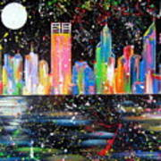 Perth Skyline Alla Pollock  Poster