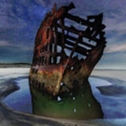 Peter Iredale Shipwreck Under Starry Night Sky Poster