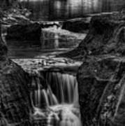 Pewits Nest Waterfalls In Black And White Poster