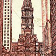 Philadelphia City Hall - Pencil Poster