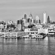 Philadelphia From The Waterfront In Black And White Poster