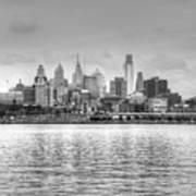 Philadelphia Skyline In Black And White Poster