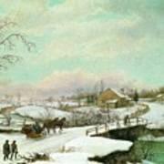 Philadelphia Winter Landscape Ca. 1830 - 1845 By Thomas Birch Poster