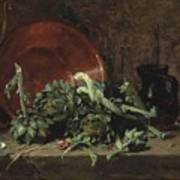 Philippe Rousseau Still Life With Artichokes, 1868 Poster