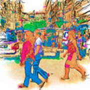 Philippine Girls Crossing Street Poster