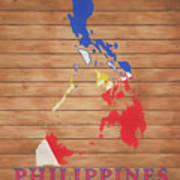 Philippines Rustic Map On Wood Poster