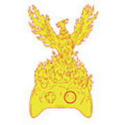 Phoenix Rising Fiery Flames Over Game Controller Drawing Poster