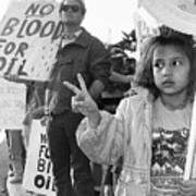 Photography Homage Alfred Eisenstadt Hispanic Girl V For Victory Sign Anti Gulf War Rally Tucson Az Poster