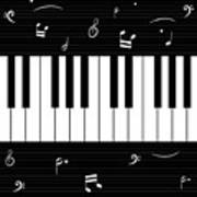 Piano And Music Background Poster