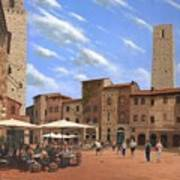 Piazza Della Cisterna San Gimignano Tuscany Poster