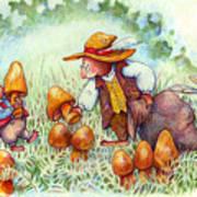 Picking Mushrooms Poster