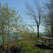 Picnic Table By The Lake Photo Poster