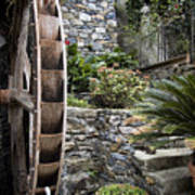 Pictueresque Waterwheel In Cinqueterre Garden Poster