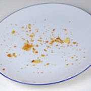 Pie Crumbs In An Empty Plate Poster