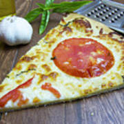 Piece Of Margarita Pizza With Fresh Ingredients Poster