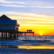 Pier  At Sunset Clearwater Beach Florida Poster by George Oze