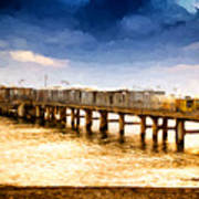 Pier At Sunset Oil Painting Photograph Poster