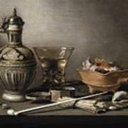 Pieter Claesz - Still Life With A Stoneware Jug, Berkemeyer, And Smoking Utensils 1640 Poster
