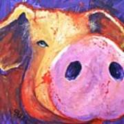 Pig On Purple I Poster